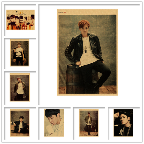 Vintage poster Wall Decor BTS Poster BTS Decals JUNG Rap Monster Wallpaper JIN Wall Stickers JIMIN SUGA J-HOPE Mural