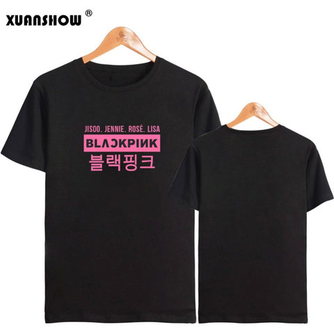 XUANSHOW Kpop BLACKPINK Style Summer T Shirts Short Sleeve Harajuku Women's T-Shirt Casual Plus Size 5XL Tops Ropa Mujer 2019