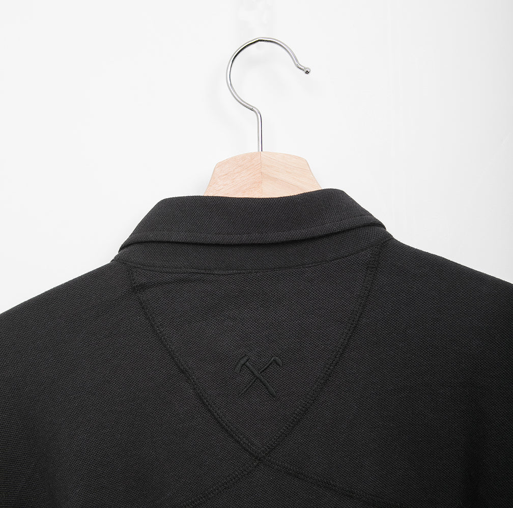 SHIRT - PIQUE BLACK - W. HIDDEN BUTTON DOWN