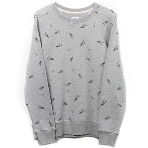 SWEATS - GREY MELEE - WITH  BLUE OR ARMY GREEN ALL OVER PRINT
