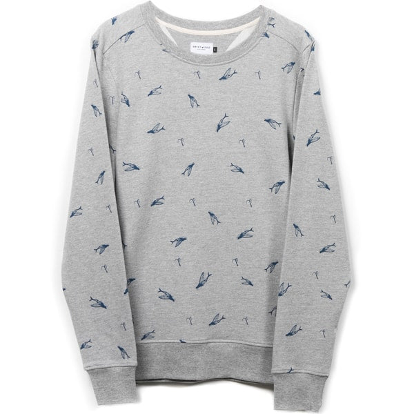 Sweat - Organic Cotton - with all over printed flying fishes - Grey melange