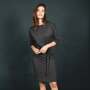 DRESS MADE OF RECYCLED GREY SWEATFABRIC