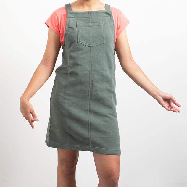 Dress - Dungaree - recycled sweat fabric - Armyº