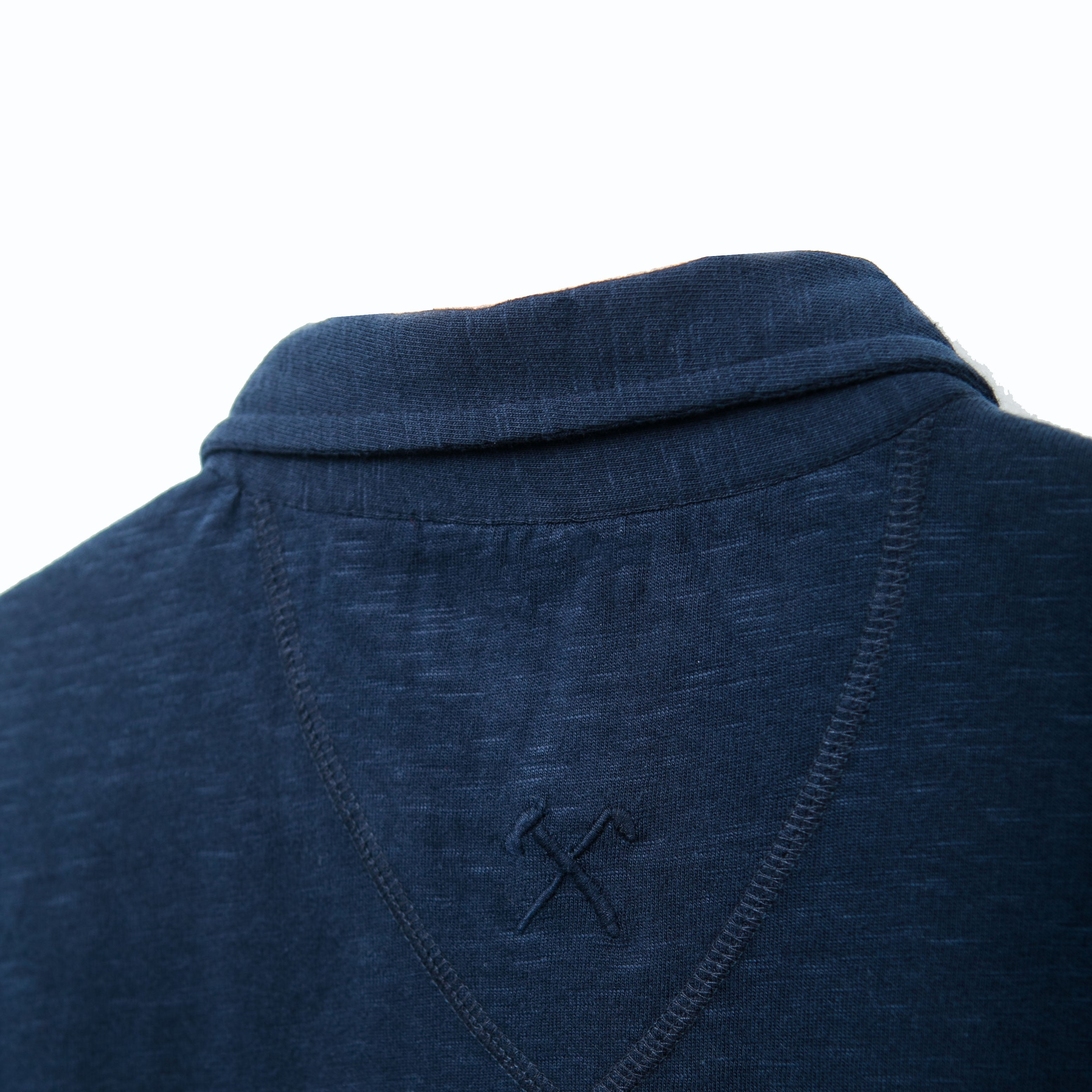 Shirt - Organic Jersey - Navy - hidden button down