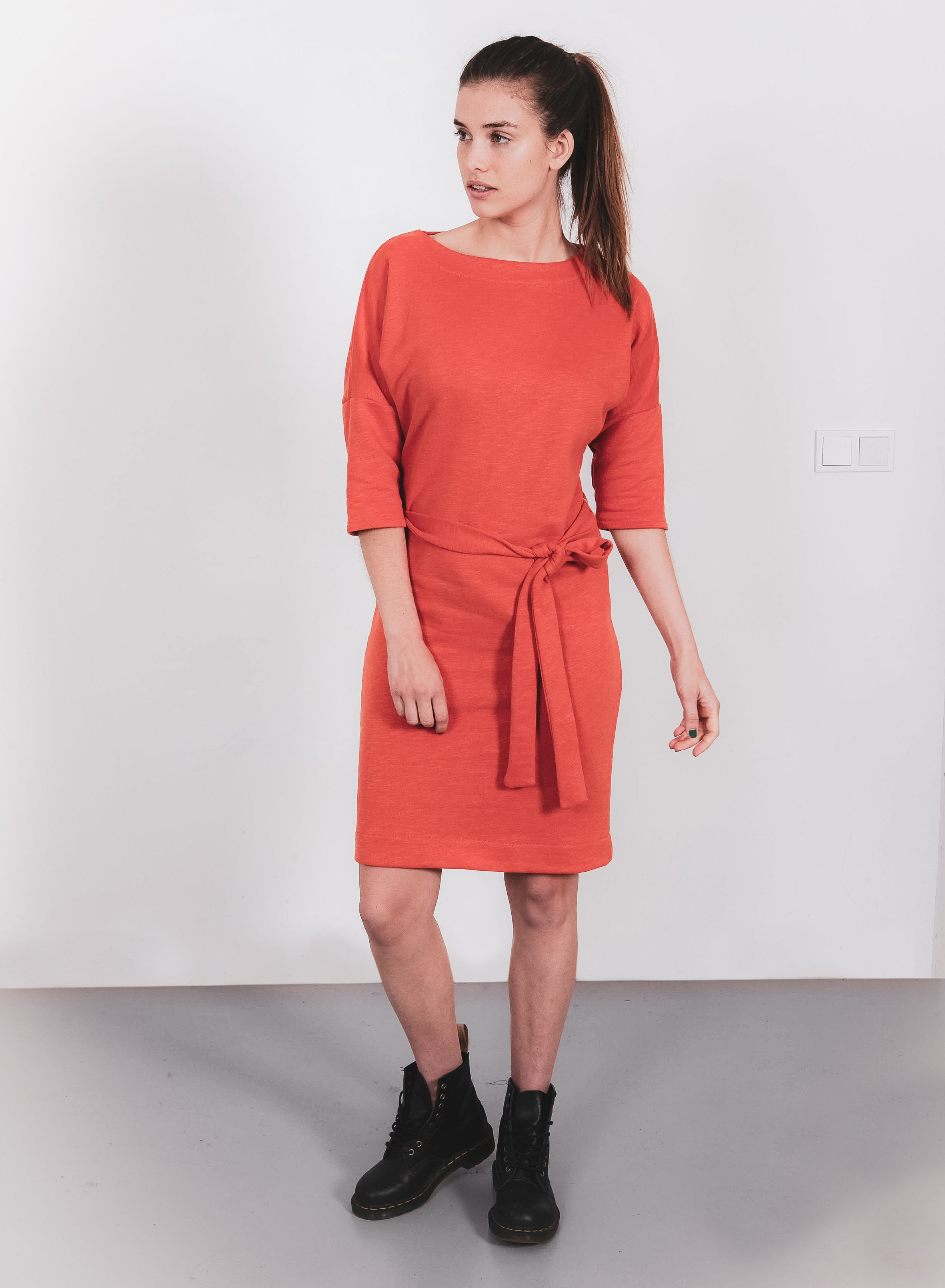 Dress - recycled sweat fabric - orangeº