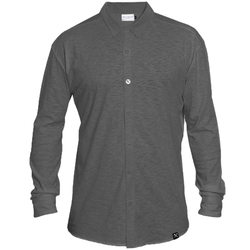 Shirt - Organic Jersey - Anthracite - hidden button down