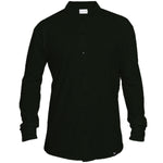 Shirt - Organic Piqué -  Black - Hidden Button Down