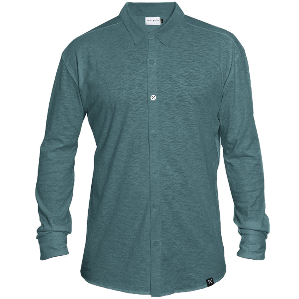 Shirt - Organic Jersey - Petrol - hidden button down
