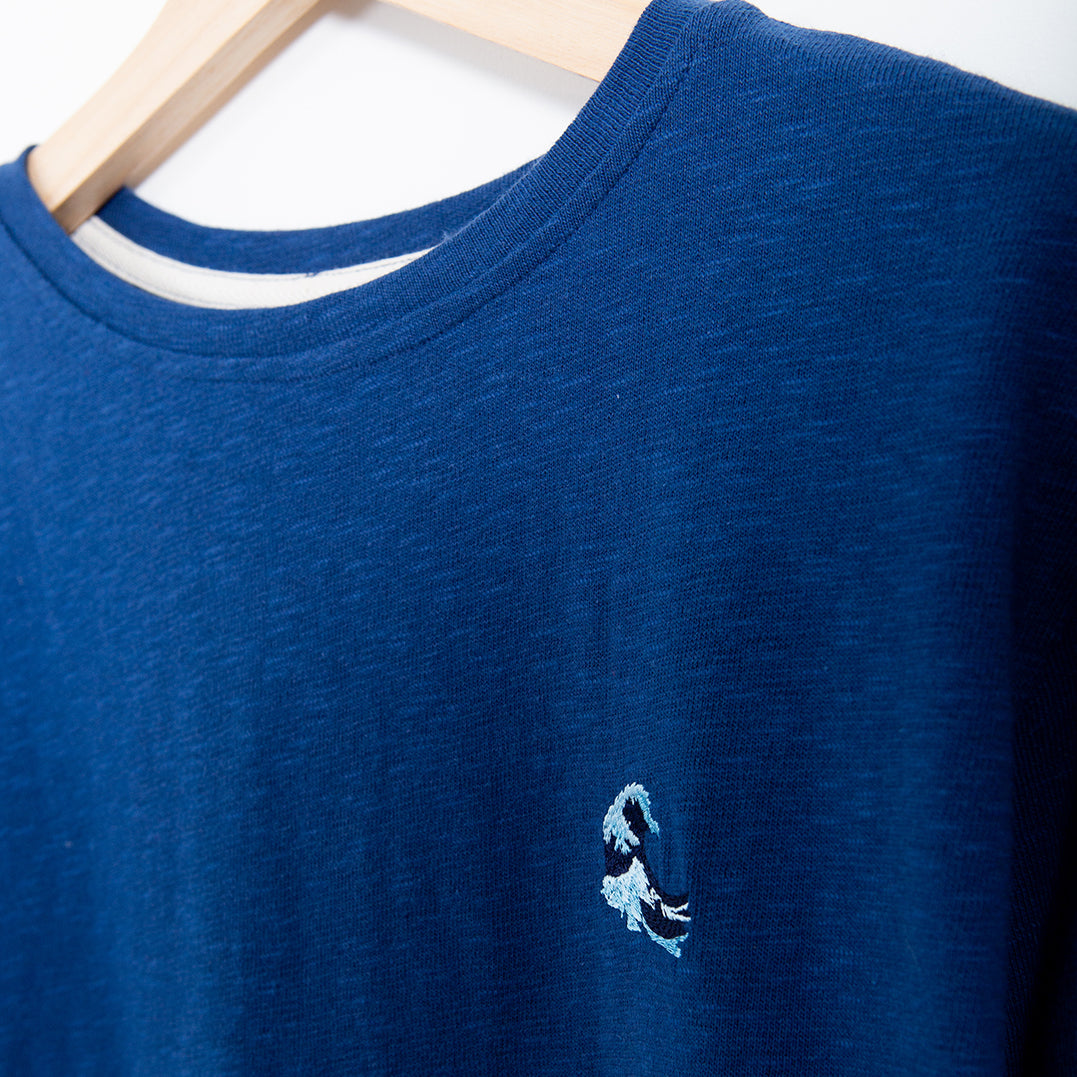 LONGSLEEVE - MID BLUE - EMBROIDED WAVE