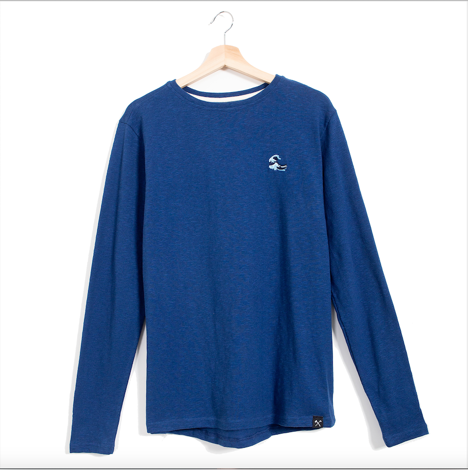 Longsleeve - recycled fabric - embroided Japanese wave - Mid Blue