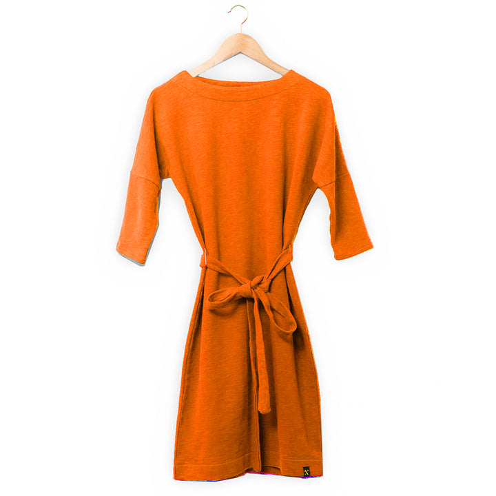 Dress - recycled sweat fabric - orange from The Driftwood Tales