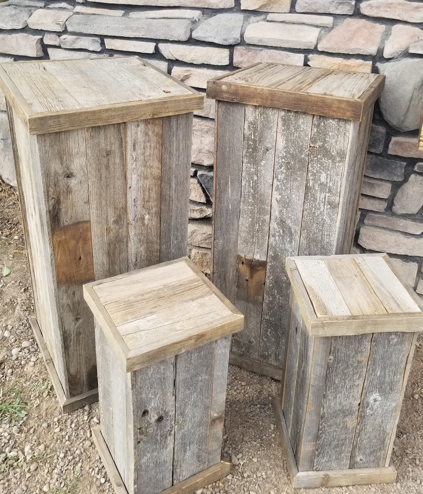Barn Wood Pedestals / Plant Stands