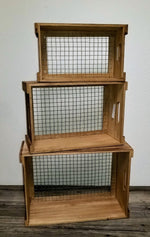Wooden Crates with Chicken Wire