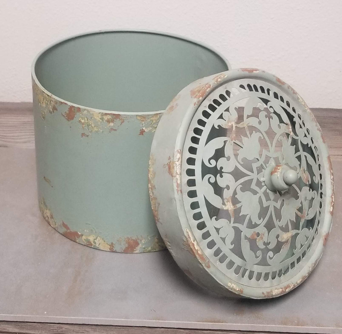 Antique Metal Bucket with Scroll Design Lid