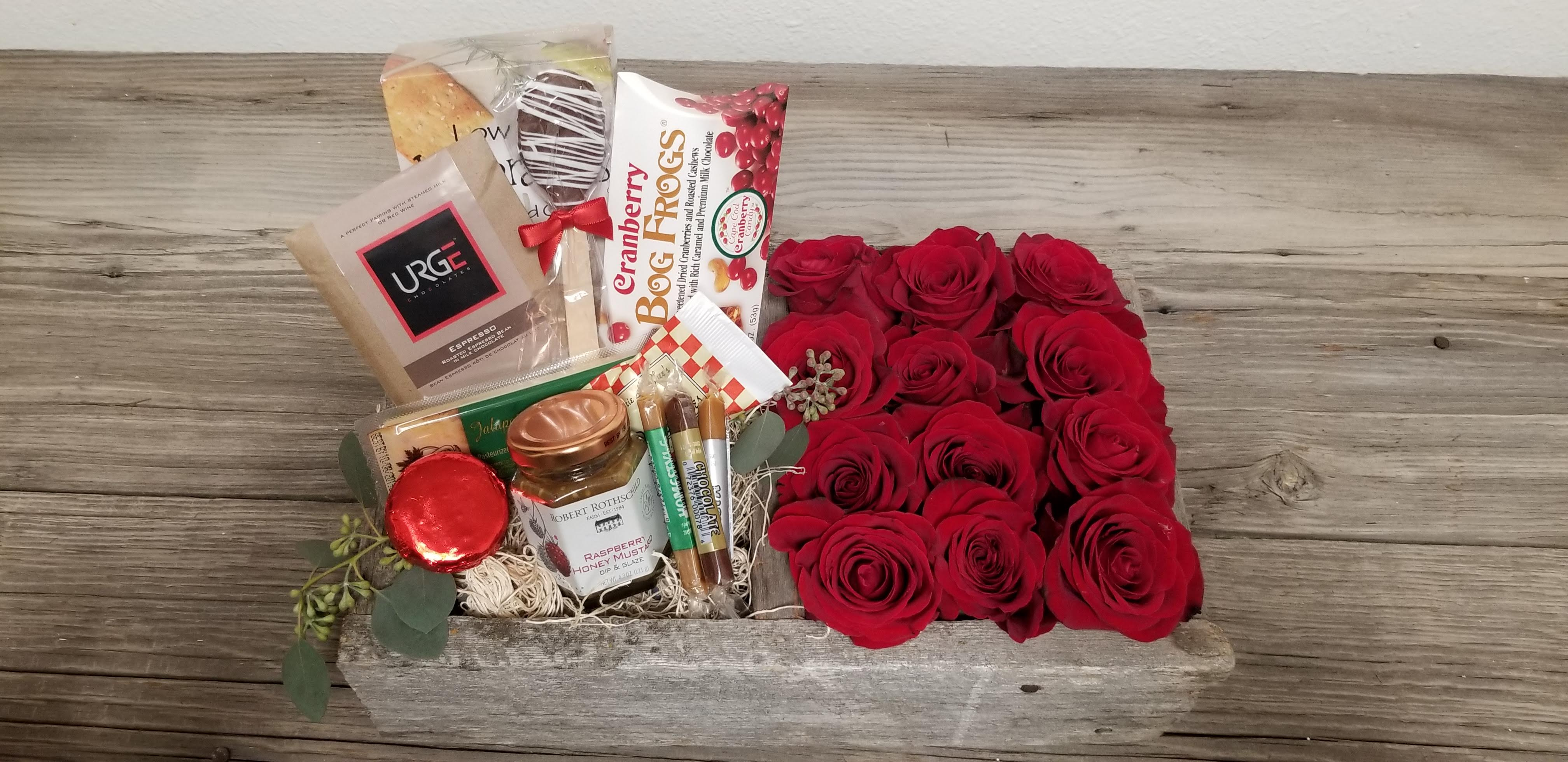 Valentine's Flowers and Gourmet Food in Barn wood Box