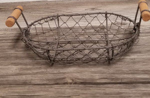 Wire Basket with Wooden Handles