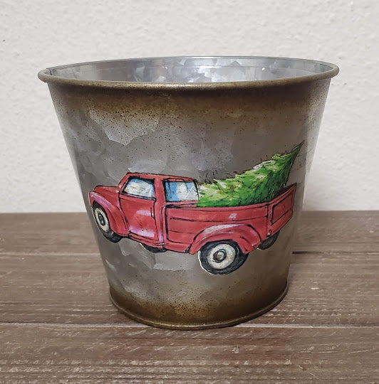 Red Truck Tin Container