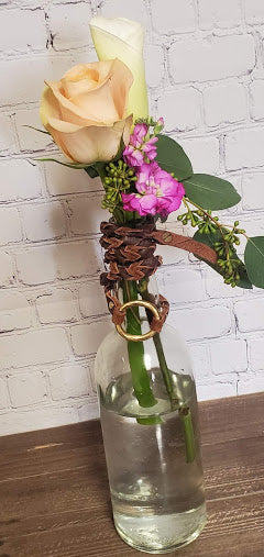 Bottle Vase with Flowers and Leather Wrap Bracelet