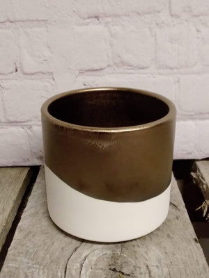 Bronze and White Ceramic Pot