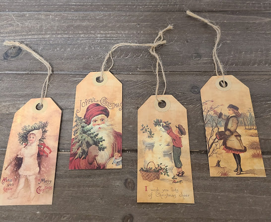 Vintage Merry Christmas Tags - Set of 4