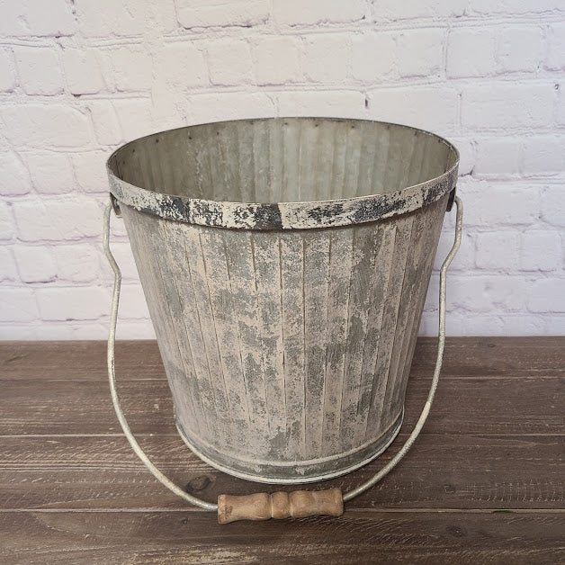 White washed Metal Basket with Wooden Handle