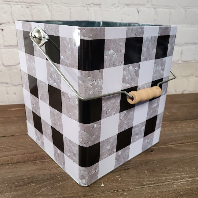 Square Plaid Bucket Large