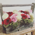 """LOVE"" Barn Wood Floral Arrangement"