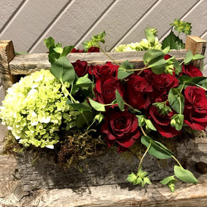 """ROMANTIC""  Barn Wood Floral Arrangement"