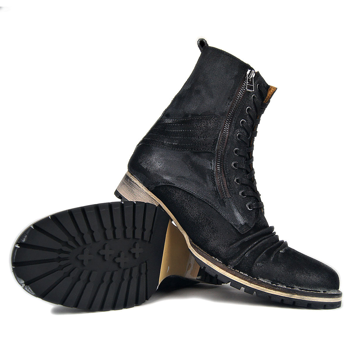Mens Handmade Motorcycle Ankle Zipper Boots