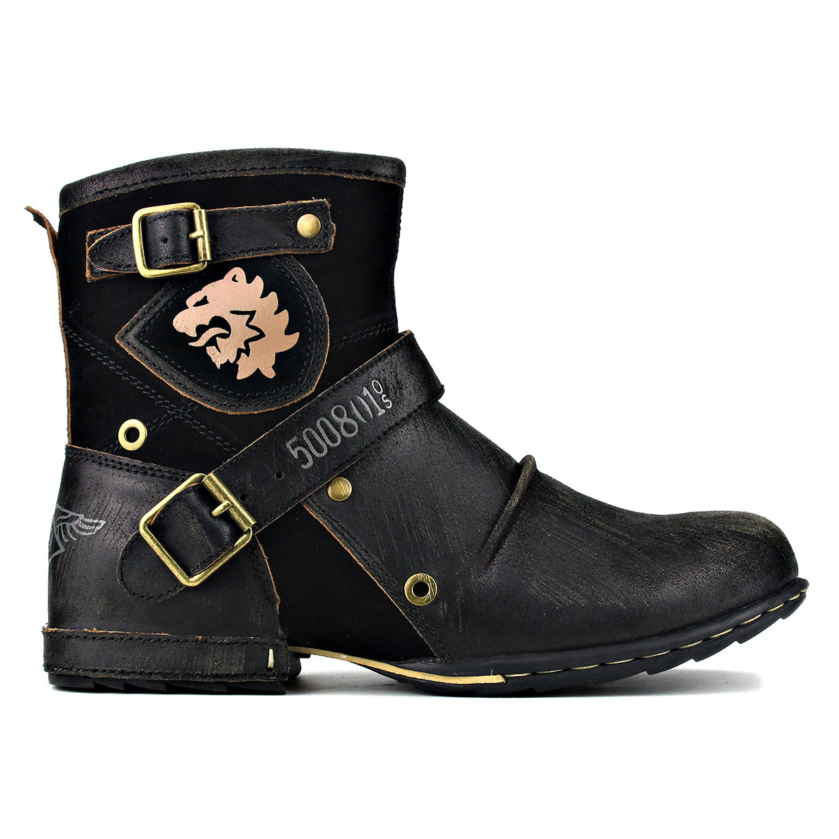 Wiipop Genuine Leather Zipper-up Men's Ankle Boots