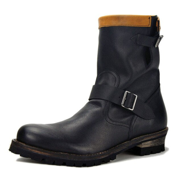 Mens Zipper Genuine Leather Martin Boots