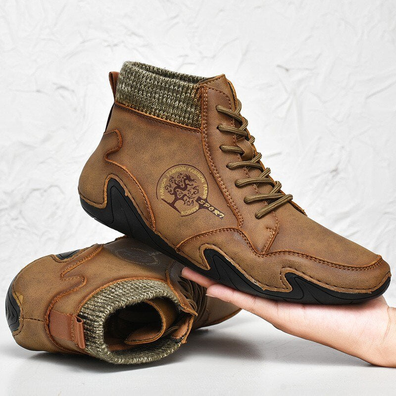 Brand High Quality Leather Man Ankle Boots