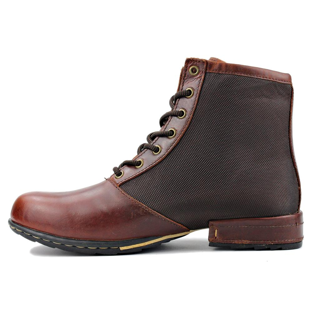 Men Genuine Cow Leather High Top Ankle Boots