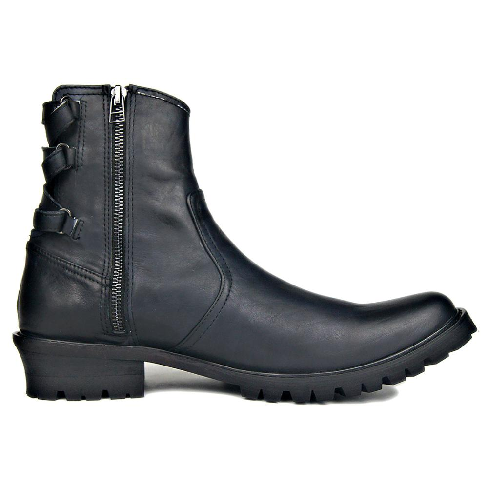 Genuine Leather Motorcycle Chelsea Boots