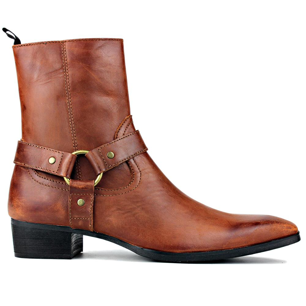 Leather Chukka Motorcycle Boots with Side Zipper Heel Retro Dress Boots