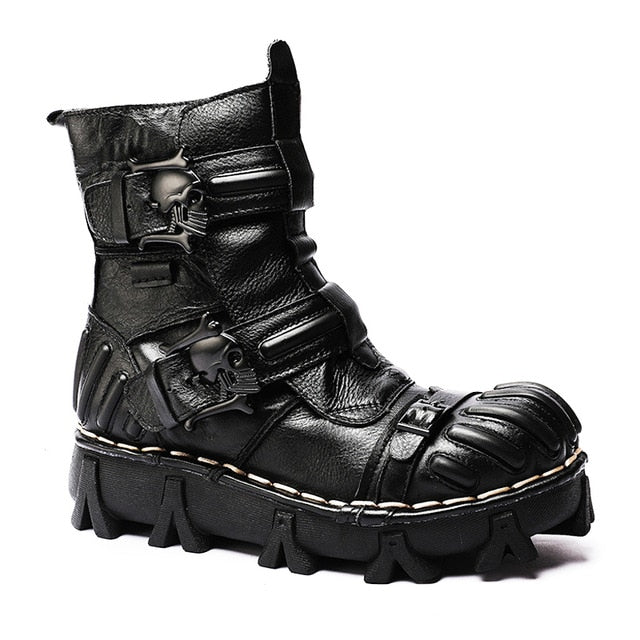 New Skull Motorcycle Genuine Leather Martin Boots