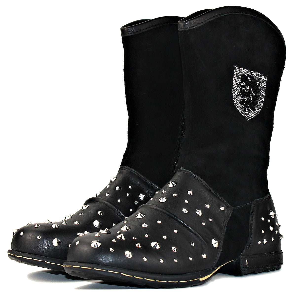 Western Punk Genuine Leather High Top Ankle Boots With Rivets