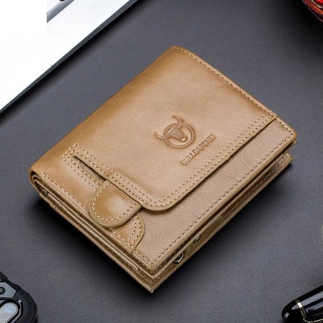 Wiipop Genuine Leather Men's Men Wallet With Zipper Coin Pocket Card Holder