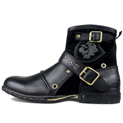 Quality Leather Motorcycle Handmade Ankle Boots
