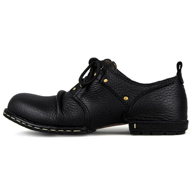 Wiipop Handmade Genuine Cow Leather Lace-Up Boots
