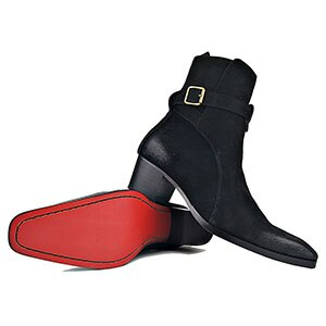 Genuine Leather Suede High Heel Men Dress Boots
