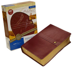 Archaeological Study Bible - NIV, European Leather, Scarlet