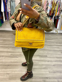 "Quilted Oversized Gold Chain Handle Bag ""MUSTARD"""