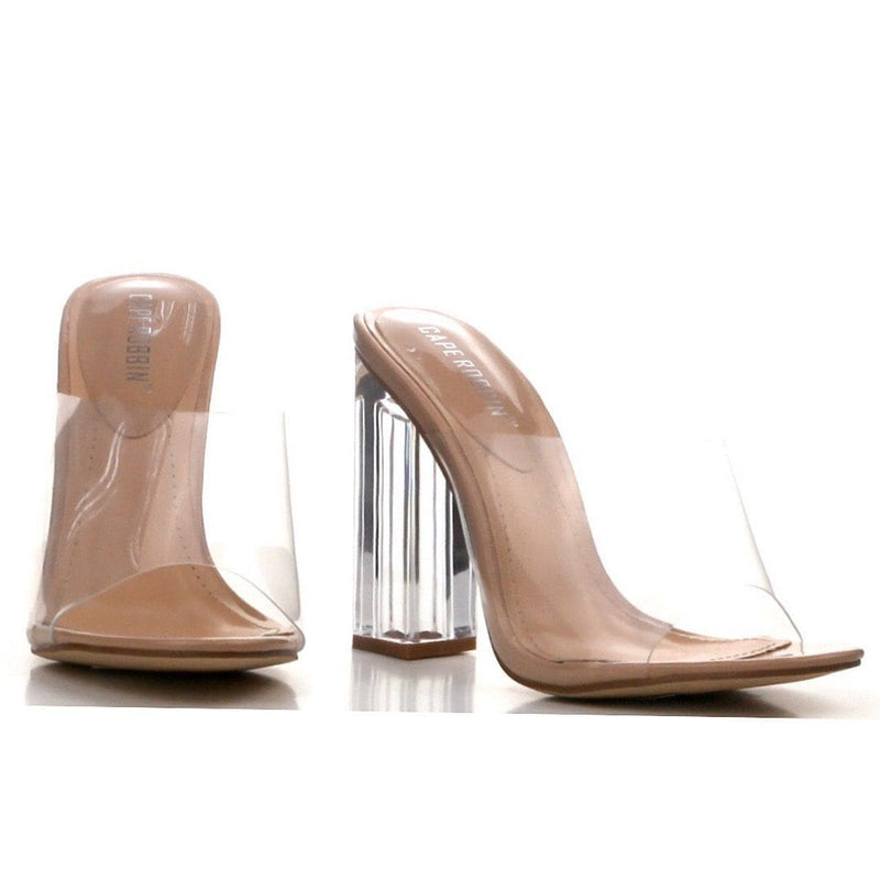 "Transparent Block Heels ""Nude"""