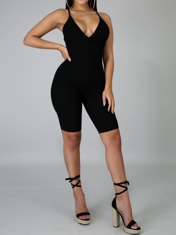 "Pretty Girl Ribbed Romper ""Black"""