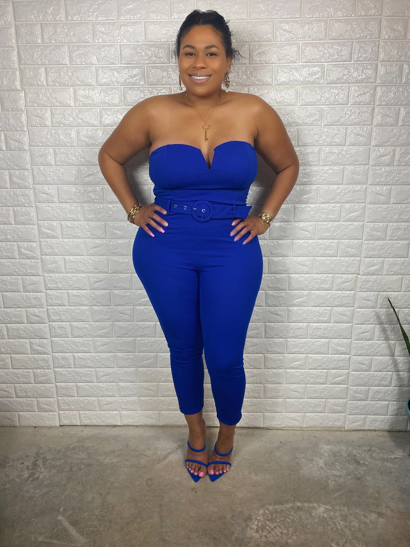 "Sweetheart Tube Belted Jumpsuit ""Royal"""