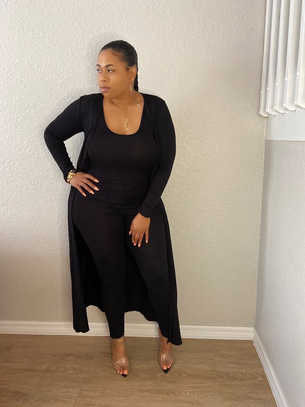 Jumpsuit And Duster Set (Black)