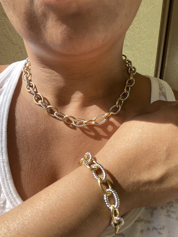 Small Two Tone Link Necklace and Bracelet Set