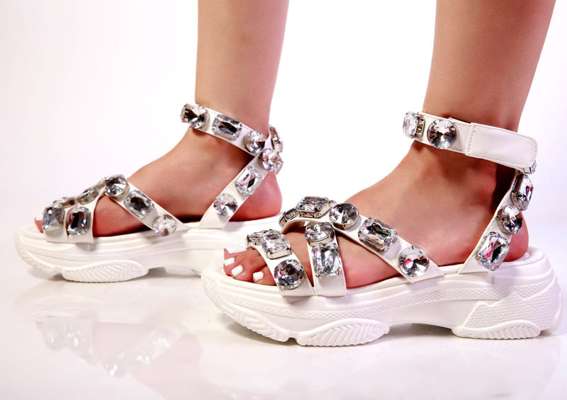 "To Be Jeweled Sandals ""White"""
