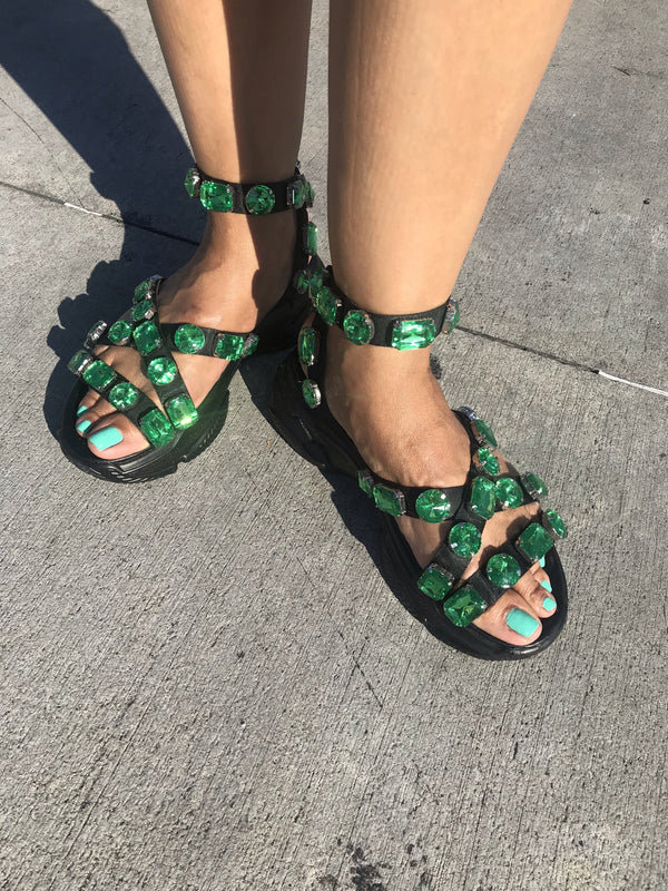 "To Be Jeweled Sandals ""Black/Green"" *FINAL SALE"